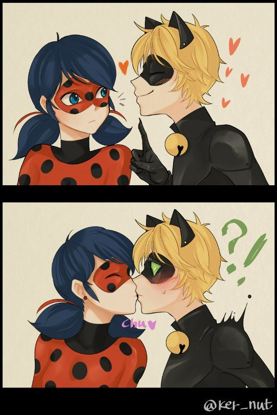 I love this, Chat Noir is such a flirt, but Ladybug can also be quite the tease. XD -Miraculous Ladybug