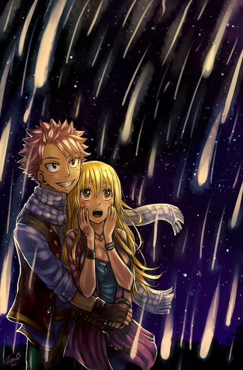I love this picture of them together! So beautiful and romantic ♥ ~ NaLu ~ Natsu x Lucy ~ Fairy Tail ~ Beautiful artwork by LeonS on tumblr.