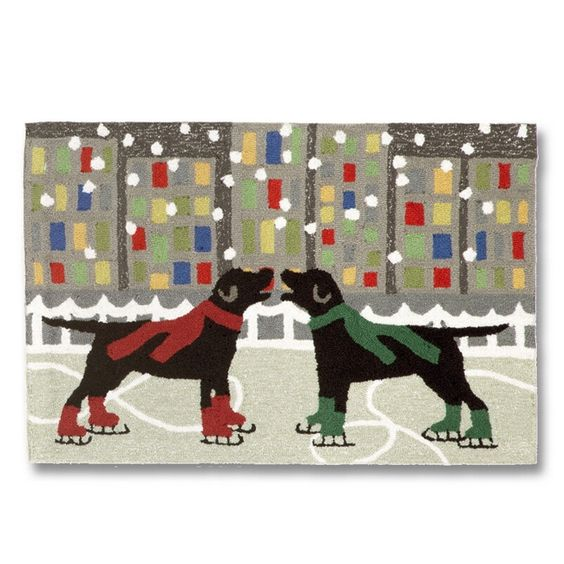 Ice Skating Labradors Accent Rug. A pair of black labs showing off their skills on the ice!  Great rug for the Labrador dog loving home. Richly blended colors made of lightweight tufted synthetic materials. Indoor or outdoor, easy care and durability makes it ideal for kitchens, bathrooms, and porches.   20