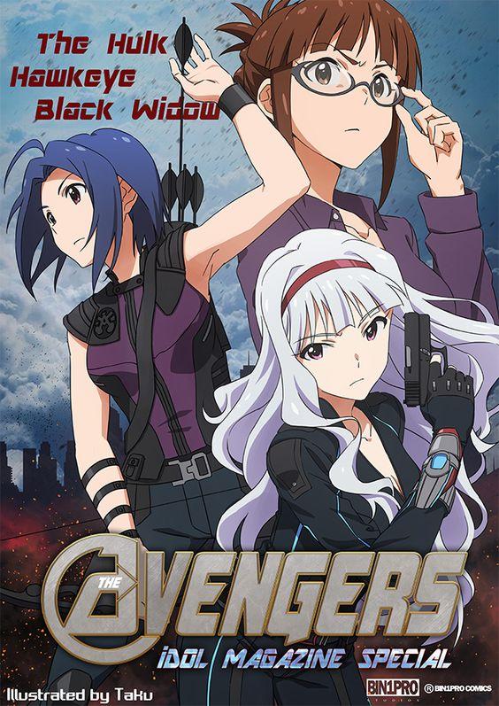 Idolmaster x Avengers, Azusa, Takane & Ritsuko, by たく(taku)