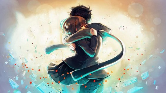 Image result for anime guy and girl hugging
