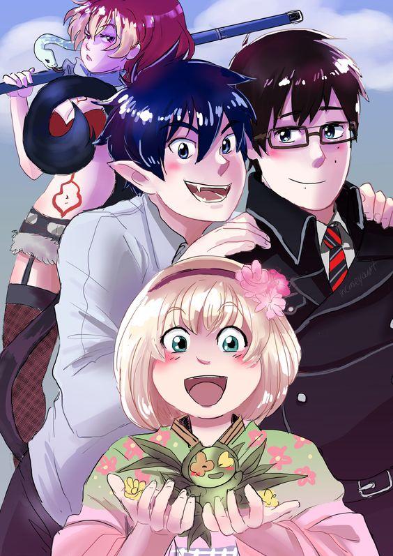"incaseyouart: "" Shura, Rin, Yukio, Shiemi (and Nii) from the awesome anime Blue Exorcist. """