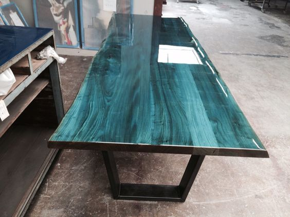 Intense blue on elm tabletop Designed and produced by ccoating netherlands #epoxy #interior #luxury