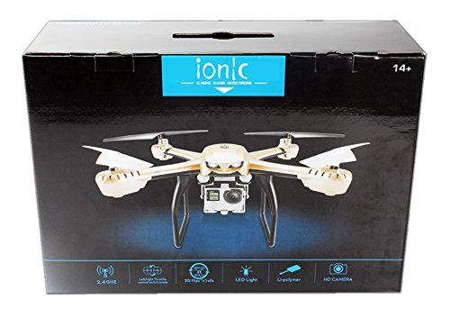 Ionic Stratus Drone Quadcopter for GoPro with 6-axis gyro system, one-key return, headless mode, shock absorption cradle head (Silver)(Compatible with Hero4) The first affordable highly versatile 6-axis gyro-system based drone quadcopter capable of carrying a go pro Hero camera. Compatible with all models of go pro Hero, this quadcopter comes equipped with the attachment in which you