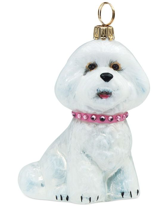 Joy to the World Bichon Frise with Pink Jeweled Collar Ornament