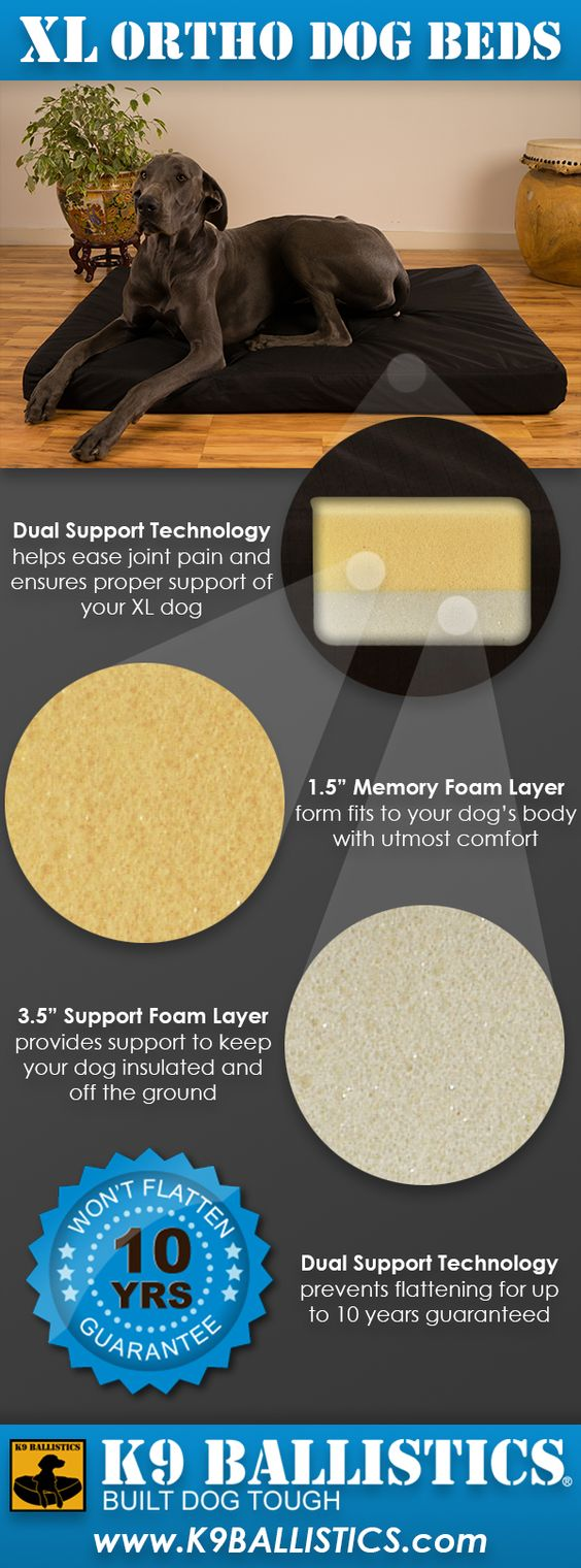 K9 Ballistic Orthopedic dog beds protect an XL Dog's spine and joints with Dual Support Technology. These beds can help prevent arthritis and hip dysplasia!