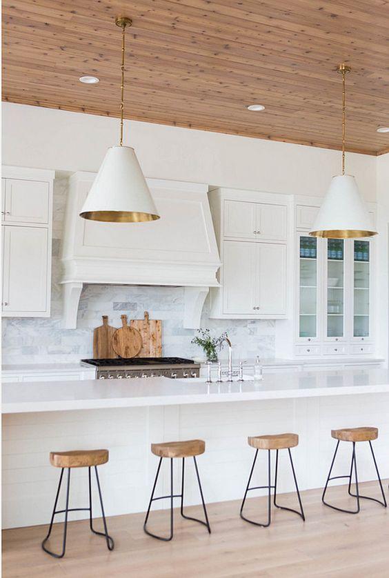 Kitchen Lighting. Kitchen Island Lighting. Transitional Kitchen Lighting. White and Gold Goodman Hanging Lamps. Kitchen Lighting. #KitchenLighting #GoodmanHangingLamps Ashley Winn Design.