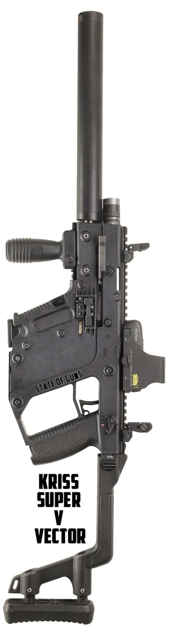Kriss Super V Vector system with capability to adapt to all existing small arms calibers, including .223 Rem and .308 is a perfect submachine gun.