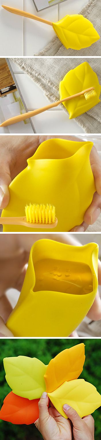 Leaf toothbrush cover that converts into a drinking /rinsing cup! Perfect for travel - genius! #product_design