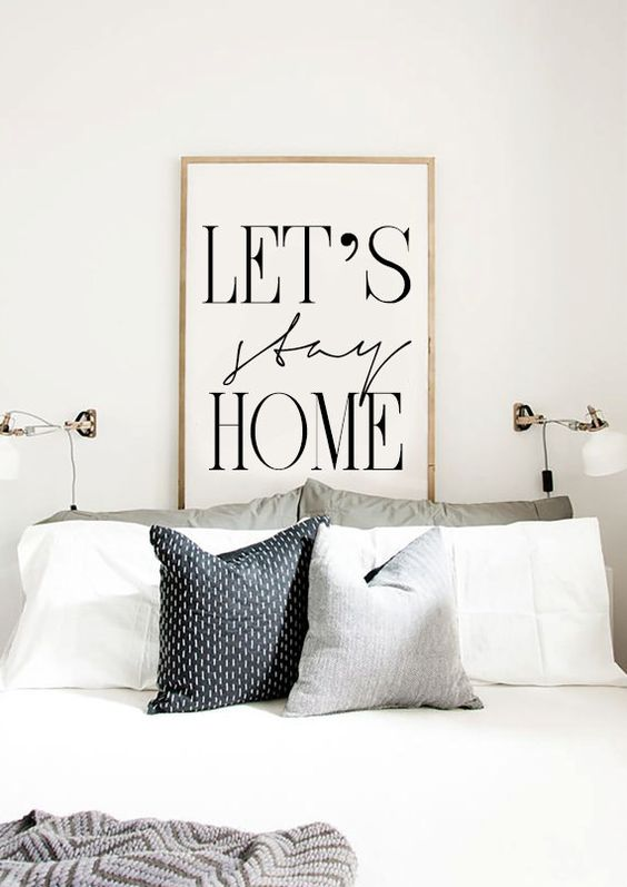 Let's stay home - Printable Bedroom Poster - Scandinavian Poster - Entryway Print Affiche Scandinave - 17x22
