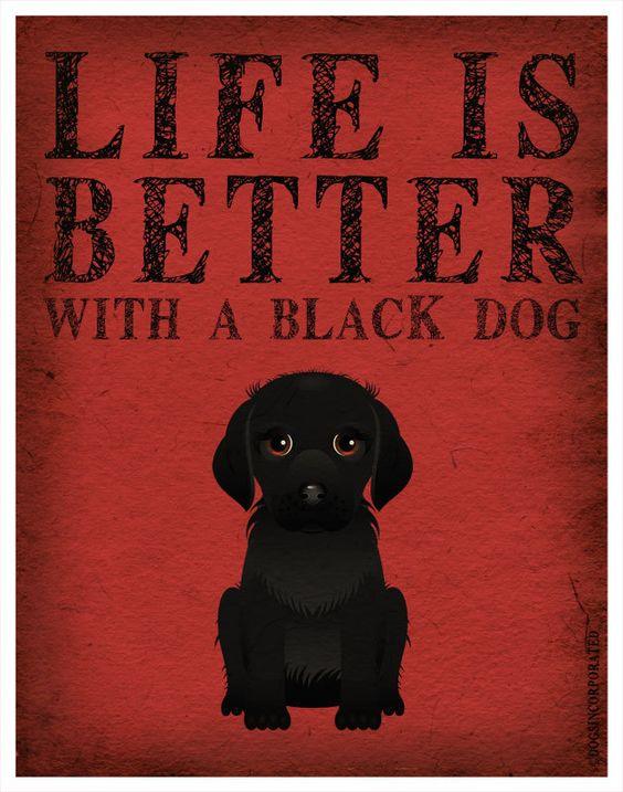 Life is Better with a Black Dog Art Print 11x14 - Custom Dog Print. $, via Etsy.