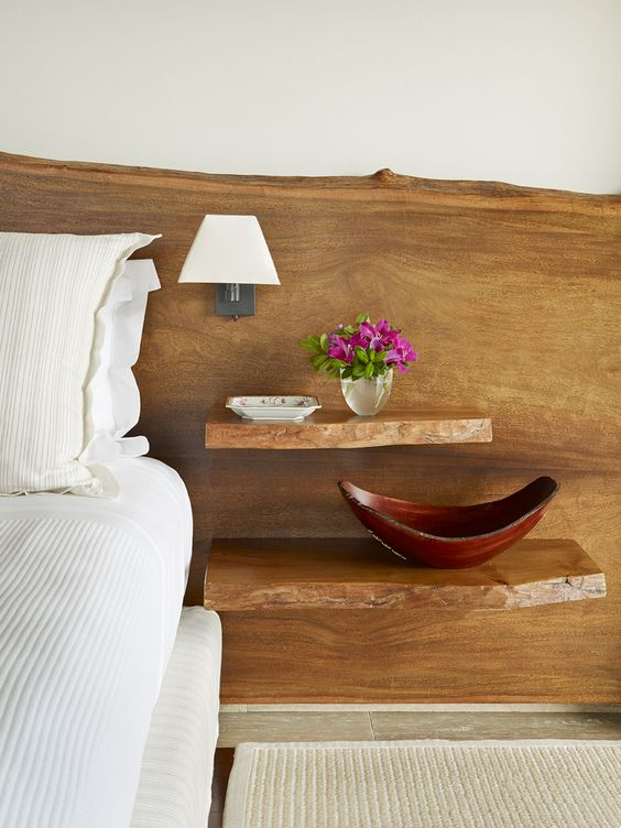 live edge timber headboard