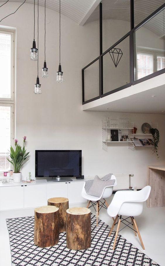 Loft. Bright living room