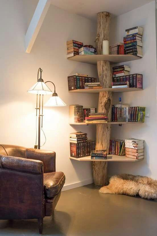 Log bookshelf for records at cabin