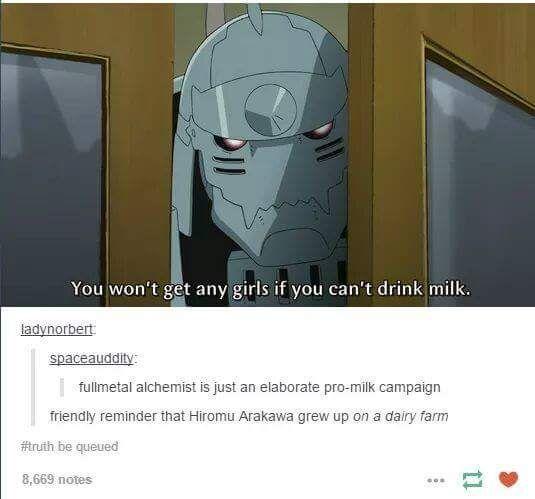 Lol love it. Fullmetal Alchemist milk