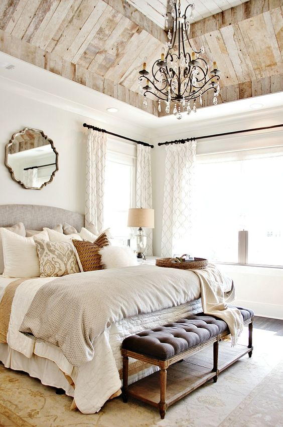 look at the beautiful reclaimed wood ceiling. Love the fixture, the rug, the mirror, the  Tour of the House That Photographed Itself