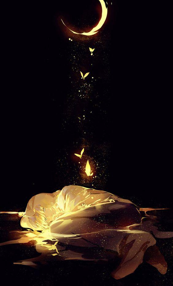 Lying under the moonlight . #yellow