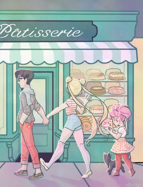 Mamoru, Usagi, Chibi-Usa, and Luna. Eyeing the sweets during a family outing. #sailormoon