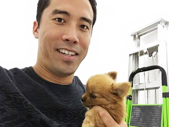 marc outside with puppy