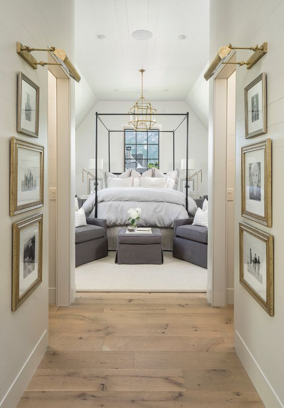 Master Bedroom. Neutral Master Bedroom wall color with reclaimed white oak plank floors. Master Bedroom. #MasterBedroom #Bedroom #NeutralBedroom #Oakfloors #plankfloors #whiteoakfloor