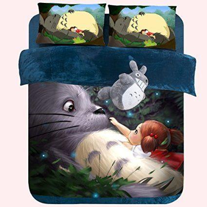 MeMoreCool Home Textile Japanese Miyazaki Hayao Animation My Neighbor Totoro Cartoon Kids Students 4 Piece Bedding Set Thicken Totoro Bed Clothes Short Plush Velvet Warm Duvet Covers Queen Size