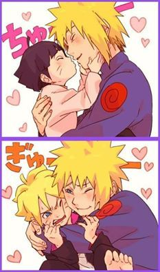 Minato, Boruto & Himawari | This is  ASDFGHJKL! It's too much for me to  It's too freaking kawaii! (• π •) | Naruto