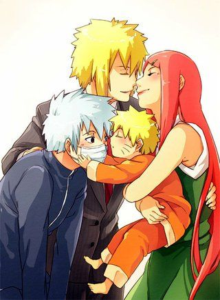 Minato Kushina Kakashi Naruto Photo by Rikku_01_album | Photobucket. Lol, lil' Naurto is trying to copy his parents.