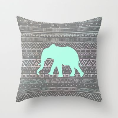 Mint Elephant  Throw Pillow by Sunkissed Laughter - $   This sight has amazing pillows!