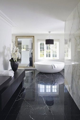 Modern black and white luxury bathroom design. See more inspirations at  #homedecorideas #bathroom #luxuryhomes modern design, interior design, luxury interior design .