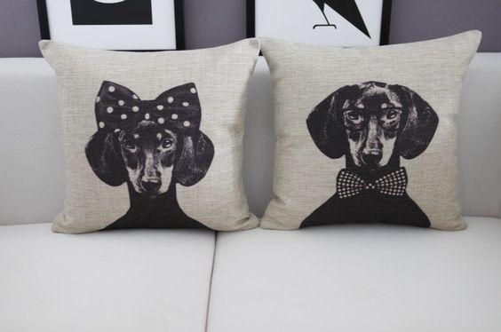 Mr/Mrs Dachshund Dog Home Cushion Cover