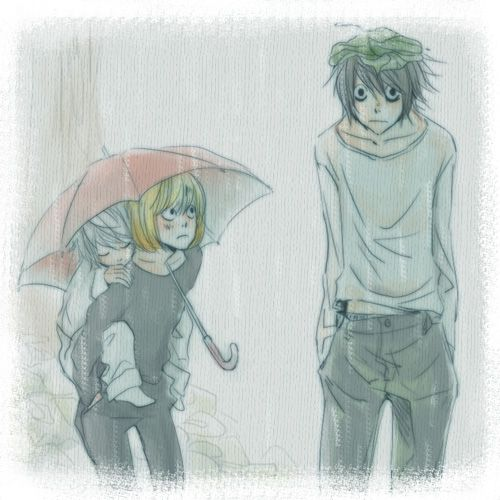 Near, Mello and L :3 Near looks so happy cuddled up on Mello DON'T TOUCH ME I'M NOT OKAY