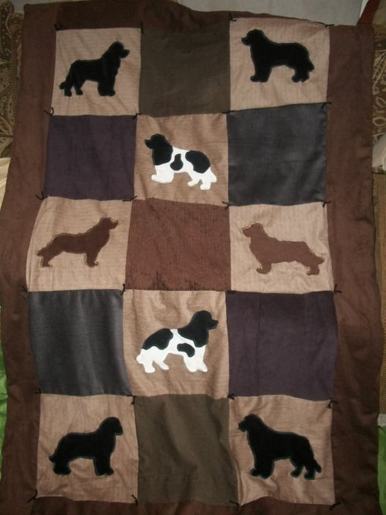 NEWFOUNDLAND Dog Silhouette THROW Size Quilt by UsByTheSeaside