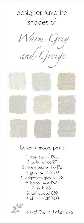 Nine Fabulous Benjamin Moore Warm Gray Paint Colors - laurel home   wonderful neutral paint colors #nofailpaintcolors #gustavianpaintcolors