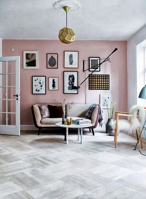 Not sure what this floor is but I LOVE it! Blush and Copper Interior - SampleBoard Blog