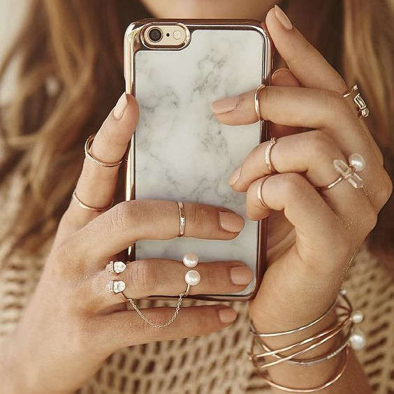 Our white marble and rose gold phone case is now available at @Shopbop -SWx #samanthawills by samanthawills