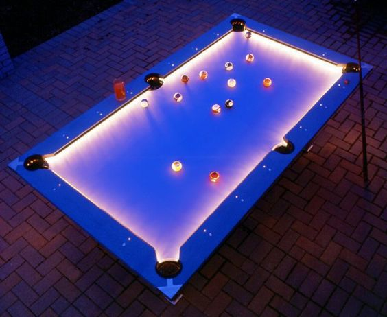 Outdoor pool table!  Yes, please!