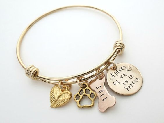Personalized Gold Bracelet - Dog Memorial Jewelry - Personalized Dog Bangle - Custom Dog Bone - Personalized Jewelry - by accessoriesbyregina