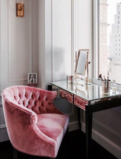 Pink Velvet Chair.