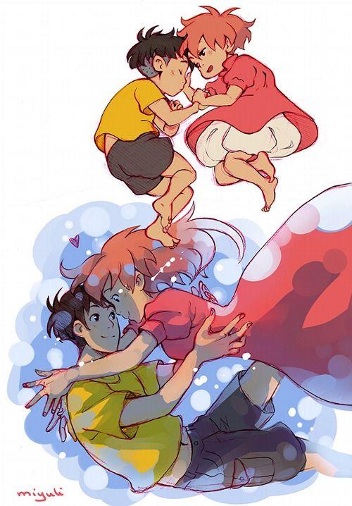 Ponyo & Sosuke by miyuli, AAAAAAAAAAWWWW SO ADORABLE!
