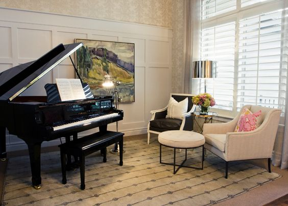 Private Residence Music Room. Interior Design by Alice Lane Home Collection.  (music room, grand piano, russian landscape, soicher marin, armchair, area rug, safavieh)