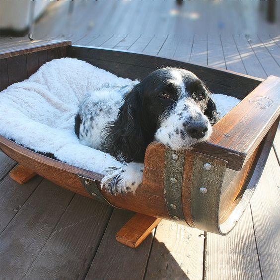 Reclaimed Wine Barrel Dog Bed