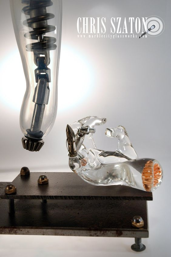 Remade 2: Prosthesis Steampunk Glass Art Sculpture by Chris Szaton.