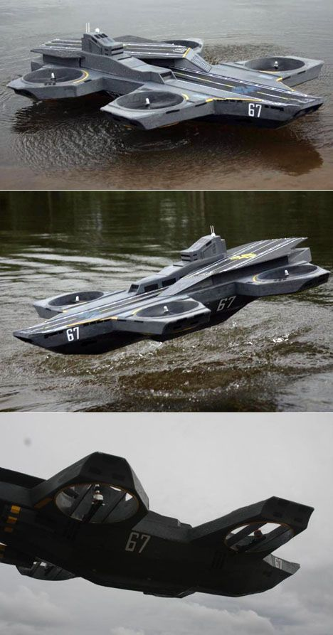 Reverse-engineered, working scale model of the Avengers'  Helicarrier by Native18