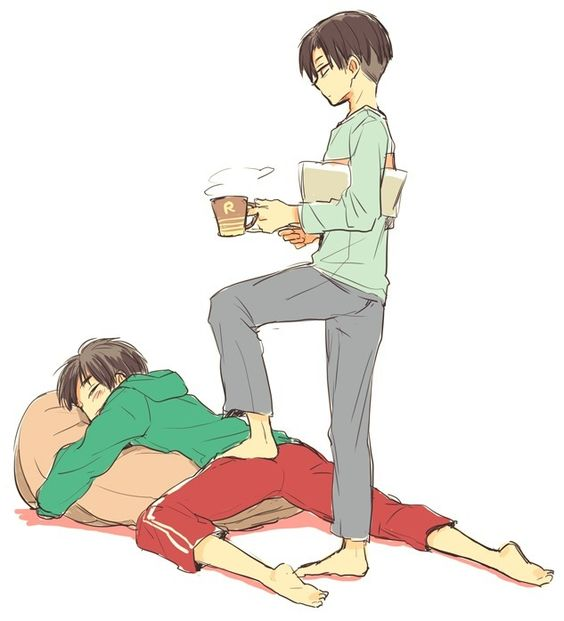 Rivaille (Levi) x Eren Jaeger | They look like their age is in between  agree?