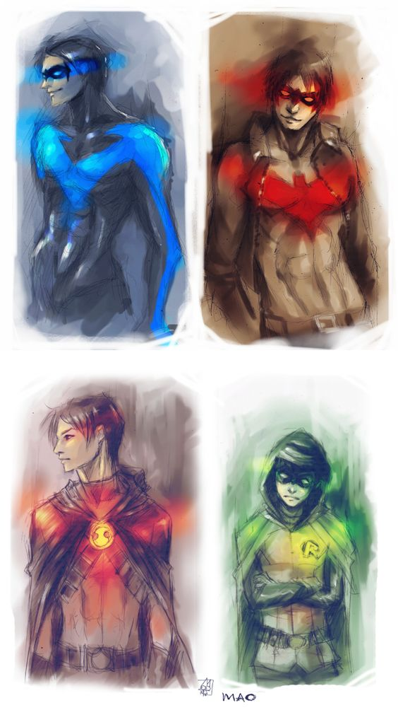 RobinS by ~AkiMao on deviantART -The Four Robins: Dick Grayson, Jason Todd, Tim Drake, and Damian Wayne