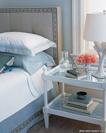 Serene sky hues take the bedroom far beyond beige when added to accents like a bed skirt, headboard trim, or side table.