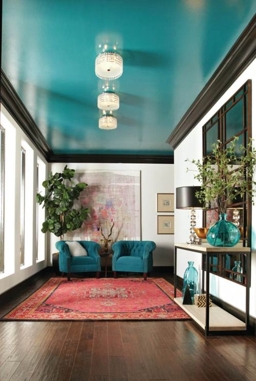 Set your home apart from all others with a unique decorating idea: painting the ceiling with a bold color. This fresh idea draws the eye up, and it gives a luxurious and modern feel to any room.