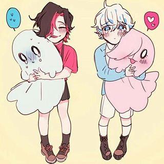 smol Metta & smol Blooky - Cousins w/ spooky plushies