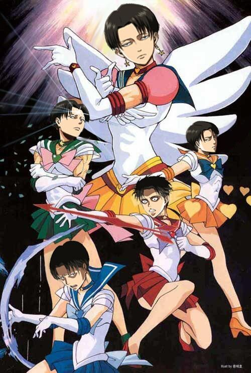 SNK Levi as the inner sailor senshi? Fighting Titans by moon light! there is something wrong with the Attack on Titan fandom!