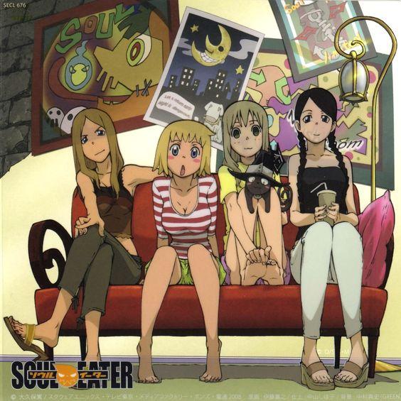 Soul Eater, Tsubaki, Maka, Blair, Liz and Patty